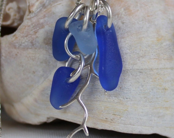 Winterbranch sea glass necklace in ocean blues