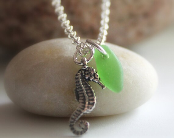 Little Seahorse sea glass anklet in sterling silver