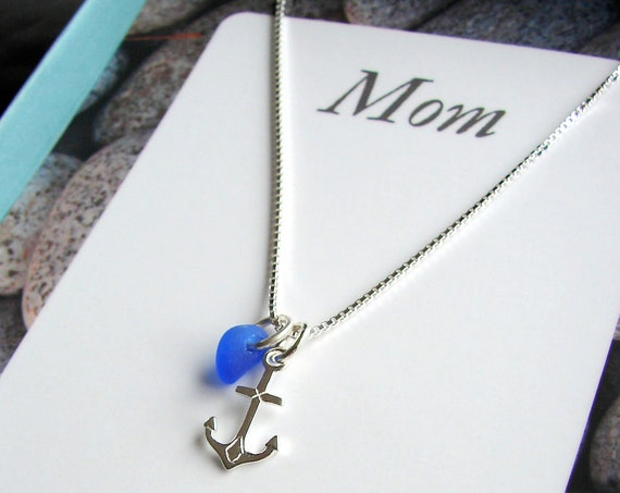 My Rock, My Anchor sea glass necklace for mom