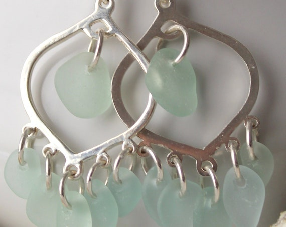 Diviner sea glass earrings in white