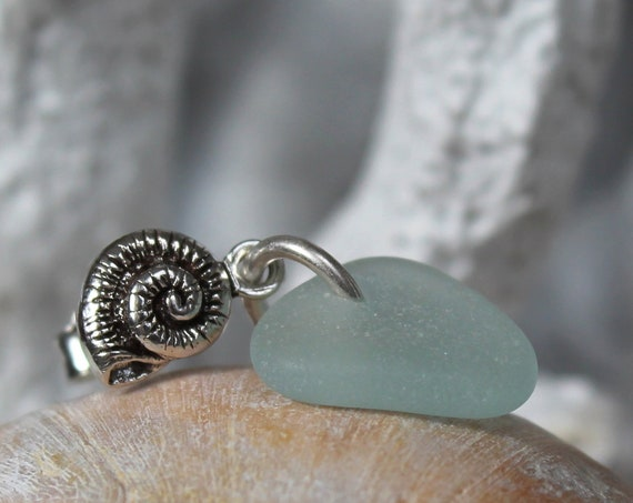 Little Nautilus sea glass earrings in aqua