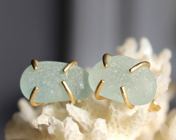 Tiny Ocean sea glass stud earrings in soft aqua