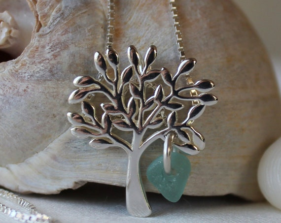 Tree of Life sea glass necklace in teal green