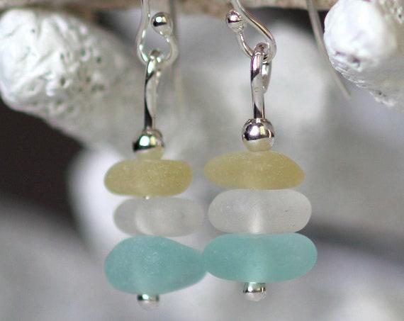 Sea Stack beach glass earrings in aqua, yellow and white