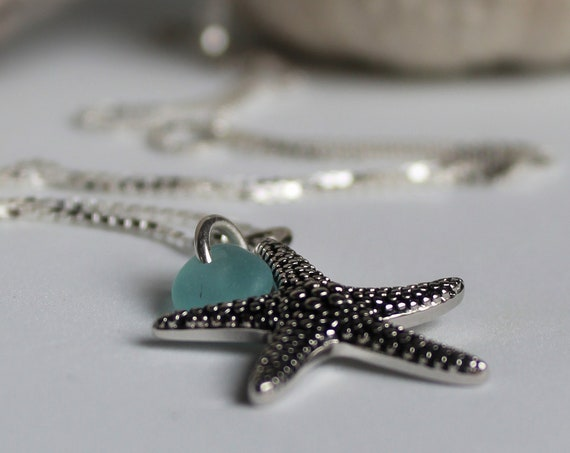 Starry Starry Night sea glass necklace in aqua