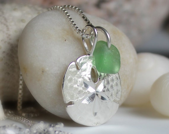 Little Sand Dollar sea glass necklace in true green