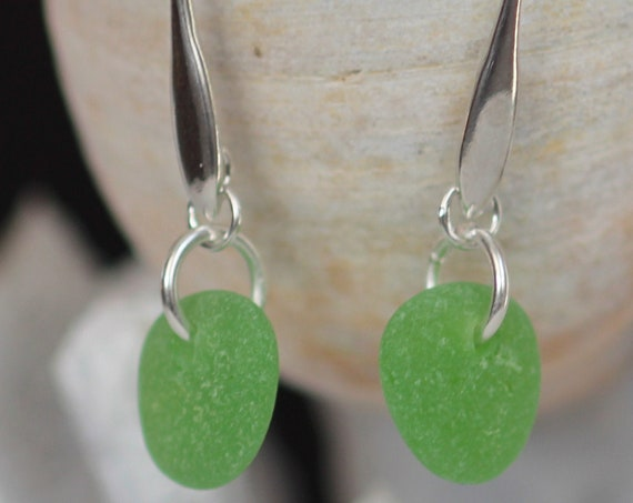 Horizon sea glass earrings in bright green