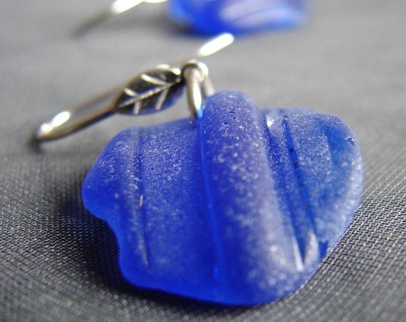 Little Leaf sea glass earrings in cobalt blue
