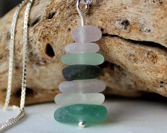 Sea Stack sea glass necklace in ocean greens and white