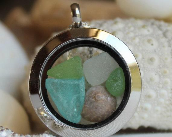 Porthole sea glass locket in aqua and green