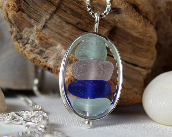 Drops in the Ocean sea glass necklace in lovely pastels and cobalt blue