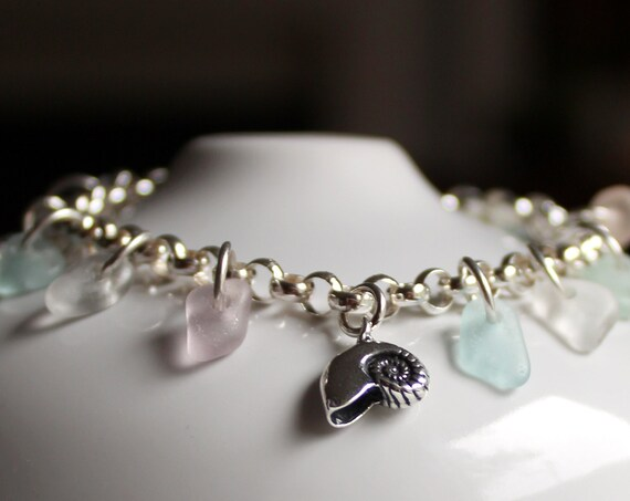 Mermaid's Tears sea glass bracelet in pastels