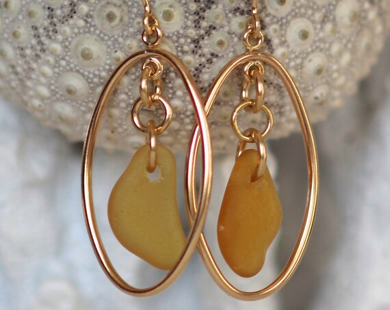 Earth and Ocean gold filled sea glass earrings in amber