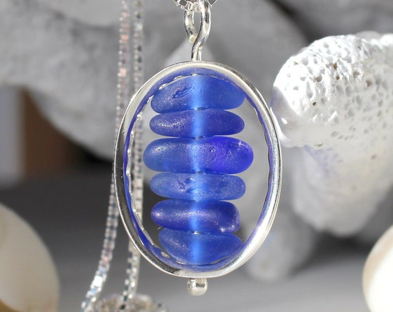 Drops in the Ocean sea glass necklace in ocean blues