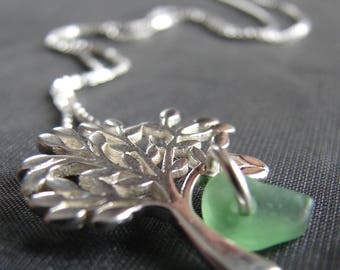 Green Sea Glass Necklace / tree of life necklace / genuine sea glass jewelry / natural beach glass necklace  /  sea glass jewellery