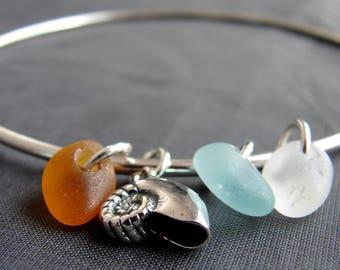Sea Glass Bracelet / sea glass jewelry / genuine sea glass bangle / beach glass bracelet / sea shell sterling silver seaglass bracelet