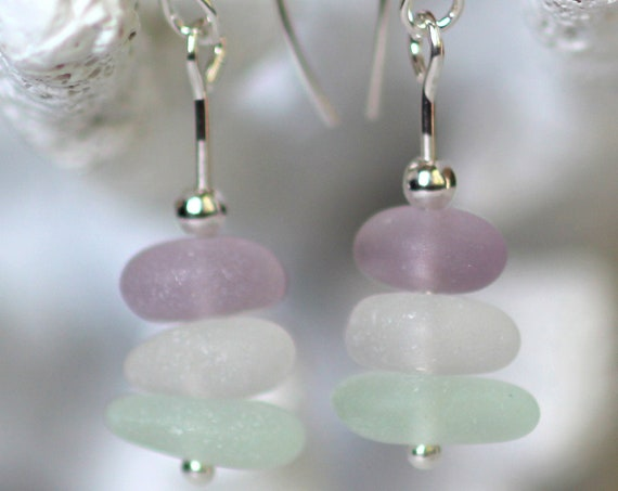Sea Stack beach glass earrings in lilac, seafoam and white