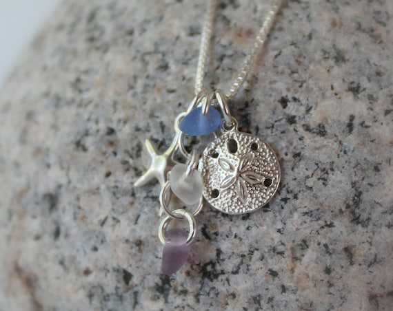 Ocean sea glass necklace in blue, white and purple