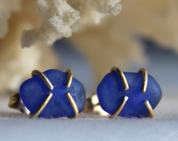 Tiny Ocean gold filled sea glass stud earrings in cobalt blue