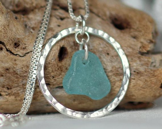 Sea Circle beach glass necklace in aqua