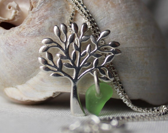 Tree of Life sea glass necklace in true green