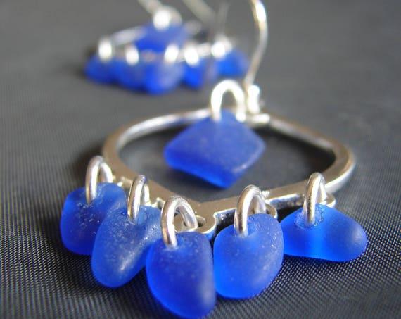 Diviner sea glass earrings in cobalt blue