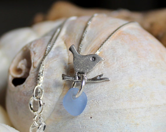 Little Bird sea glass necklace in cornflower blue