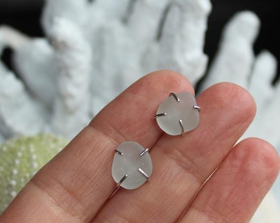 Tiny Ocean sea glass stud earrings in pure white