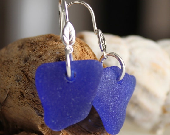 Little Leaf sea glass earrings in cobalt blue