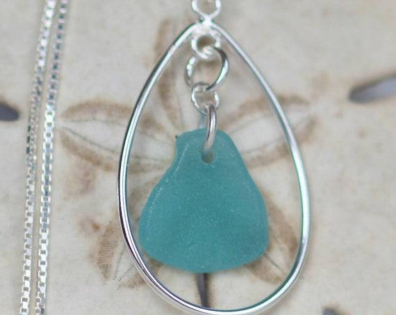 Sea Keeper sea glass necklace in aquamarine