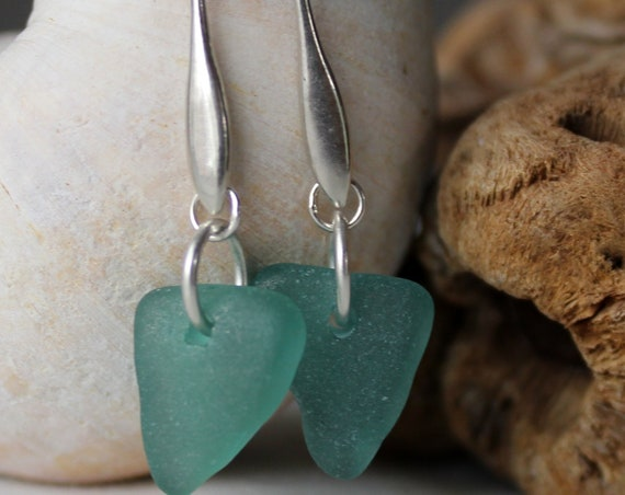 Horizon sea glass earrings in teal