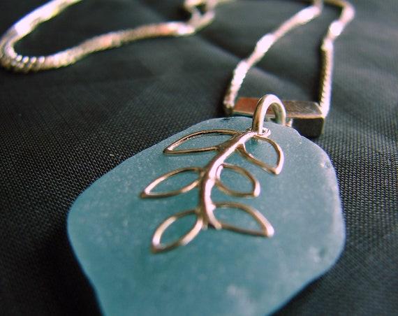 Sea Vine sea glass necklace in soft aqua