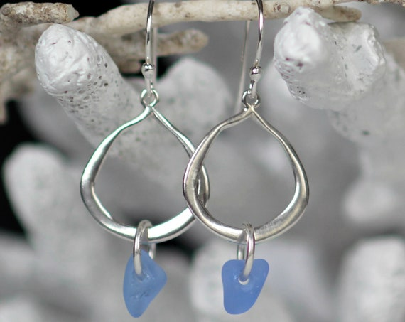 Waterline sea glass earrings in cornflower blue