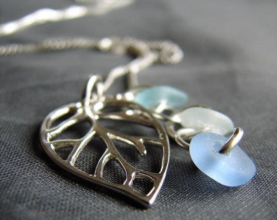 Little Leaf sea glass necklace in blue, aqua and white