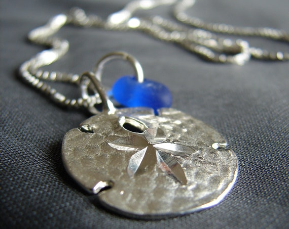 Little Sand Dollar sea glass necklace in cobalt blue