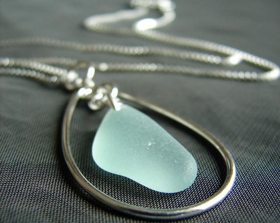Sea Keeper sea glass necklace in seafoam