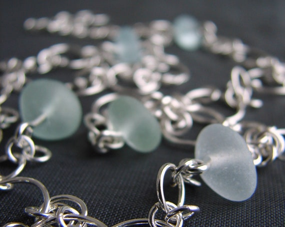 Mermaiden sea glass and sterling silver necklace