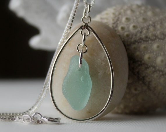 Sea Keeper sea glass necklace in soft aqua