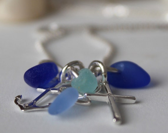 The Anchor Holds sea glass necklace in blue and aqua