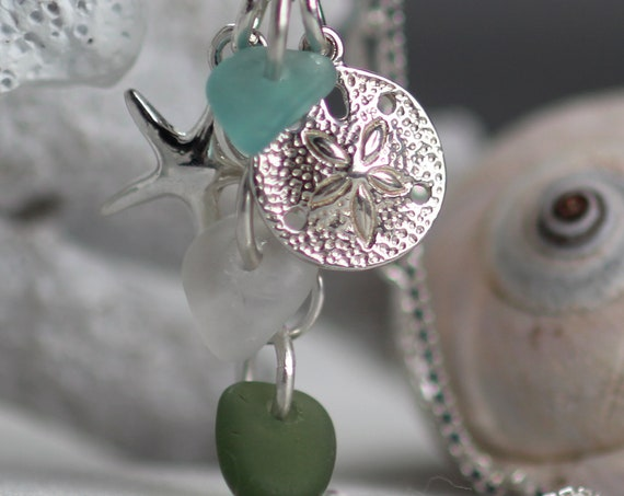 Ocean cluster sea glass necklace in aqua, white and olive