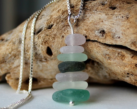 Sea Stack sea glass necklace in ocean greens