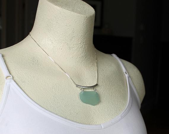 Oceanus sea glass necklace in seafoam