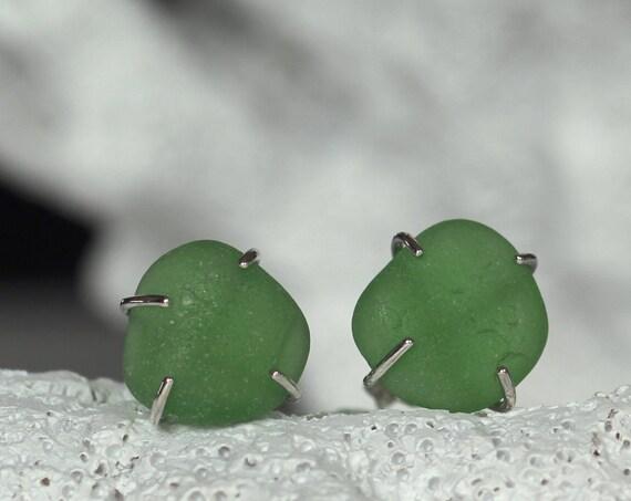 Tiny Ocean sea glass stud earrings in true green