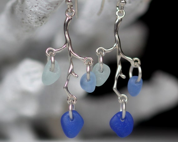 Winterberry sea glass earrings in ocean blues