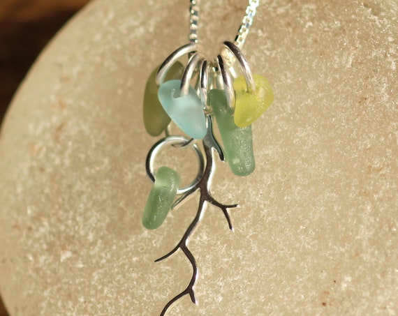 Winterbranch sea glass necklace in ocean greens