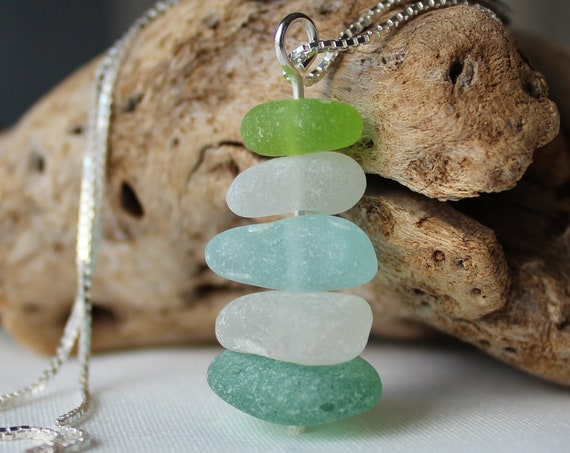 Sea Stack sea glass necklace in aqua, teal and lime green