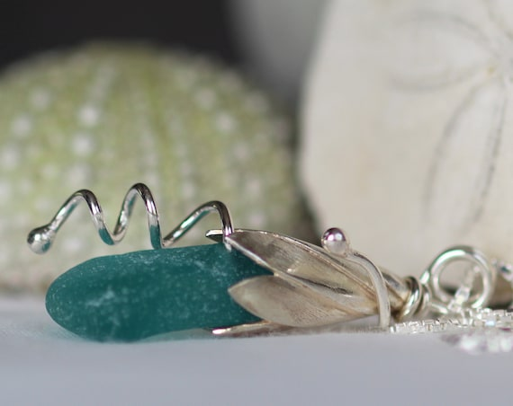 Sea Lily beach glass necklace in teal/aqua