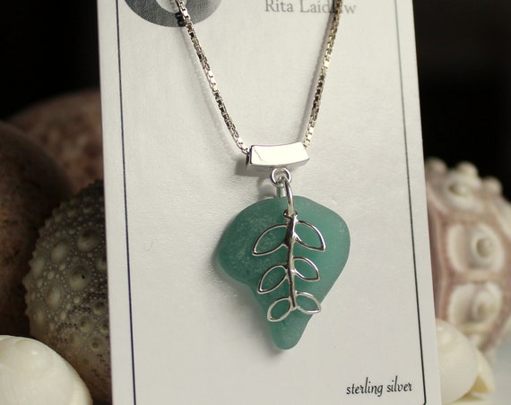 Sea Vine sea glass necklace in soft teal