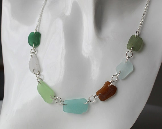 On hold for Neil- Neptune's Daughter sea glass necklace in earth tones