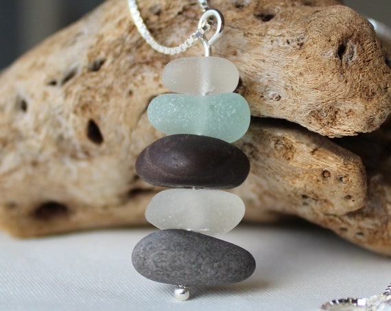Sea Stack beach pebble and sea glass necklace in aqua and gray